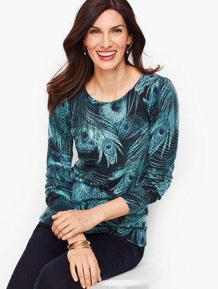 Talbots Gathered Shoulder Merino Sweater - Peacock