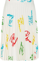 J.W.Anderson Pleated Printed Stretch-crepe Skirt - White