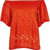 River Island Womens Red daisy lace overlay bardot top