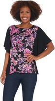 Bob Mackie Painterly Floral Front Caftan Top
