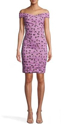 Nicole Miller Lilac Leopard Off The Shoulder Dress