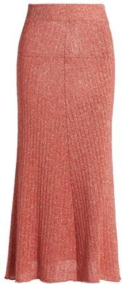 MSGM Metallic Ribbed Sheer Knit Skirt