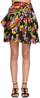 Carolina Herrera Floral Printed Cotton Faille Mini Skirt