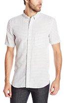 French Connection Men's Fresh Linen Stripe Short Sleeve Button Down Shirt
