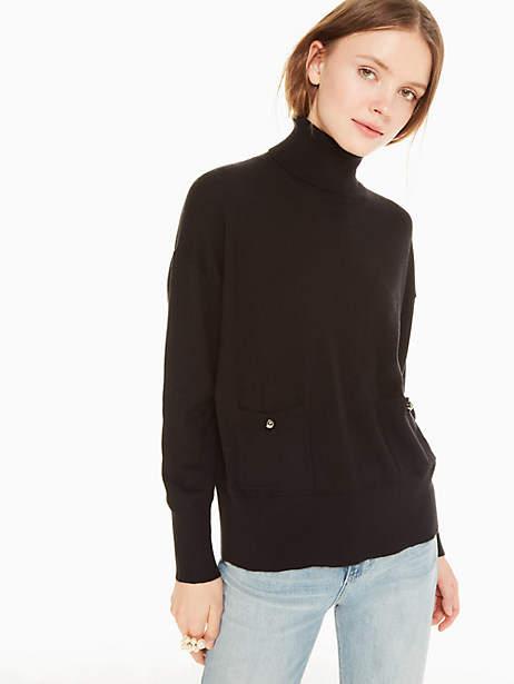 Kate Spade Turtleneck Pocket Sweater, Black - Size L