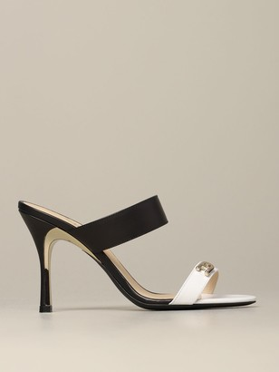 Furla High Heel Shoes Yc89 Sandal In Bicolor Leather With Logo