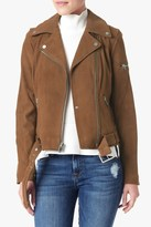 7 For All Mankind Suede Moto Jacket In Cognac