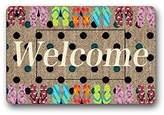 """Custom Machine-washable Door Mat Funny Words Do you Live Here Indoor/Outdoor Doormat 23.6""""(L) x 15.7""""(W)"""