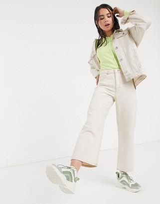 Monki Mozik wide leg organic cotton jeans in ecru