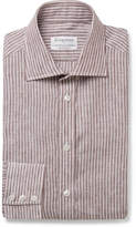 Kingsman + Turnbull & Asser Brown Striped Cutaway-Collar Cotton Shirt