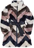 Imoga Chevron-Pattern Faux-Fur Coat