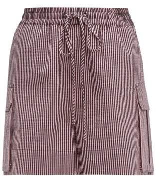 Ganni Striped Cotton-blend Seersucker Shorts - Womens - Pink