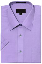G-Style USA Men's Regular Fit Short Sleeve Solid Color Dress Shirts - 5XL/21-21.5