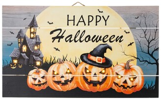 """Glitzhome 24"""" L Halloween Wooden Wall Decor with Led"""