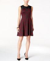Ivanka Trump Faux-Leather-Trim Jacquard Fit & Flare Dress