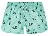 River Island MensGreen cactus print runner swim trunks