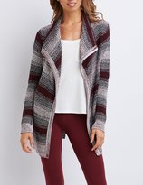Charlotte Russe Striped Cascade Belted Cardigan