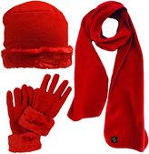 Luxury Divas Faux Fur Trimmed Fleece 3 Piece Hat Scarf & Glove Set