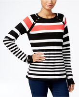 Karen Scott Petite Resort Striped Sweater, Only at Macy's