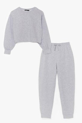 Nasty Gal Womens Missed You Sweatshirt and Joggers Set - Grey - 6
