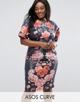 Asos Wiggle Dress In Placement Floral