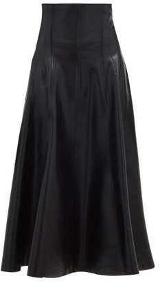 Norma Kamali Grace High-rise Coated-neoprene Midi Skirt - Black