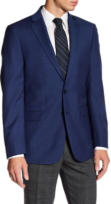 Calvin Klein Solid Blue Wool Suit Suit Separates Jacket
