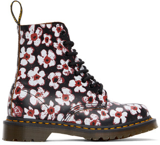 Dr. Martens Black and Red Floral 1460 Pascal Boots