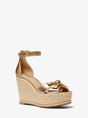 Michael Kors Ripley Metallic Leather Wedge Sandal