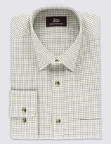 Marks and Spencer Pure Cotton Twill Checked Shirt with Pocket