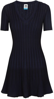 M Missoni Navy striped fine-knit mini dress