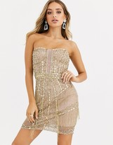 Starlet strapless all-over embellished mini bodycon in gold