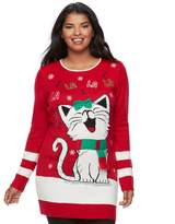 It's Our Time Juniors' Plus Size FaLaLa Kitty Sweater Tunic