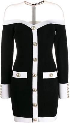 Balmain off the shoulder mini dress