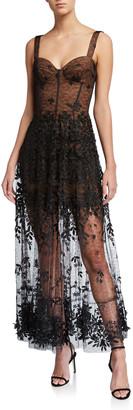 Dress the Population Anabel Embroidered Sheer Hem Bustier Dress