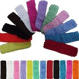 "12pcs 1.5"" Elastic Crochet Headbands Hair Bands Kid Baby Girls Toddler"