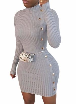 CORAFRITZ Womens Knitted Bodycon Club Dress Long Sleeve High Neck Wrap Dress Ladies Sexy Mini Dress Beach Dress Gray