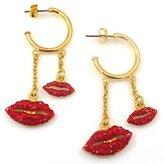 Butler & Wilson Butler and Wilson Red Crystal Lips Hoop Earrings
