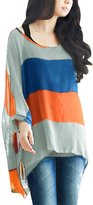 Allegra K Women Loose Boat Neck Colorblock Shirt w Tank Top Sets S