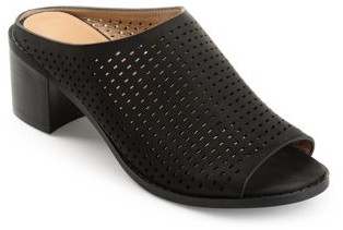 Brinley Co. Womens Faux Nubuck Open-toe Perforated Mules