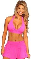 UjENA Flirty Skirted Halter Bikini Swimsuit Top Only