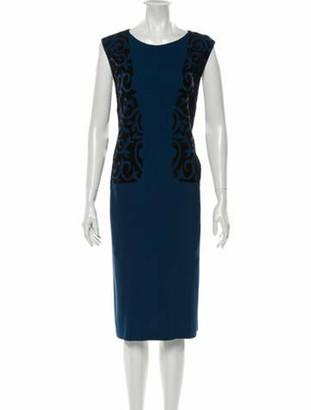 Etro Scoop Neck Midi Length Dress Blue