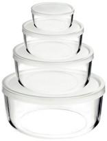 Bormioli Frigoverre 4 Piece Round Glass Food Storage Container Set