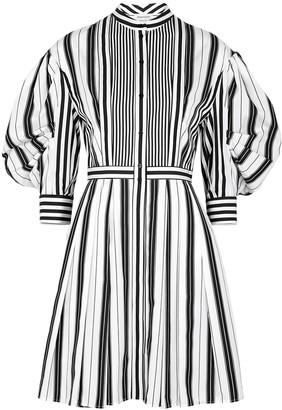 Alexander McQueen Monochrome striped cotton dress