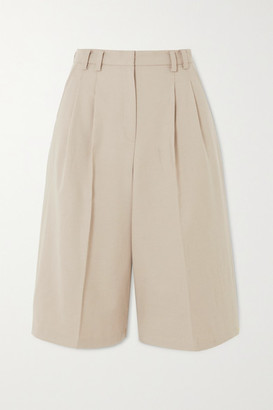 Frankie Shop Suzanne Pleated Tencel-blend Shorts - Beige
