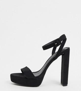 ASOS DESIGN Wide Fit Natasha platform barely-there heeled sandals in black