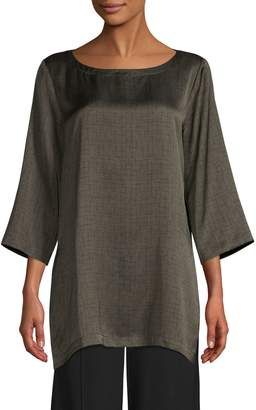 Eileen Fisher Silk-Cotton Blend Boat Neck Tunic Top
