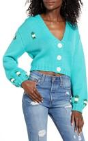 4SI3NNA the Label Tegan Floral Crop Cardigan Sweater