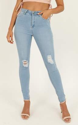 Showpo Brooke Skinny Jeans in Light Wash Denim - 16 (XXL) Cropped
