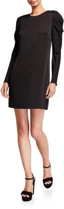 Milly Carina Draped Long-Sleeve Stretch Silk Shift Dress